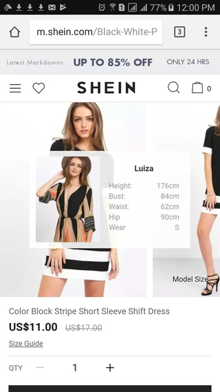 SheIn mobile website product detail page