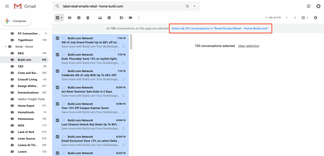 Select all the emails in a folder in Gmail