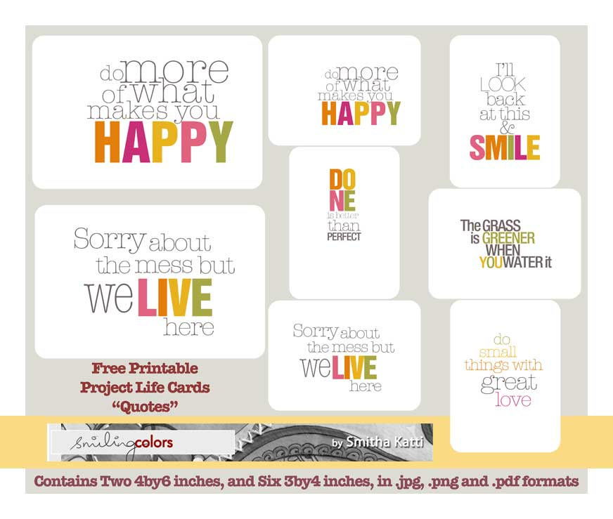Quote Cards Magnificent Project Life Quote Cards Smitha Katti