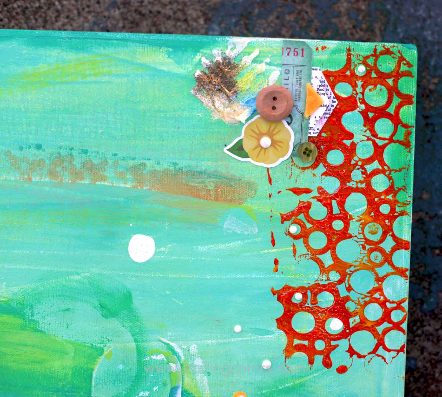 How To Paint A Big Mixed Media Canvas Smiling Colors