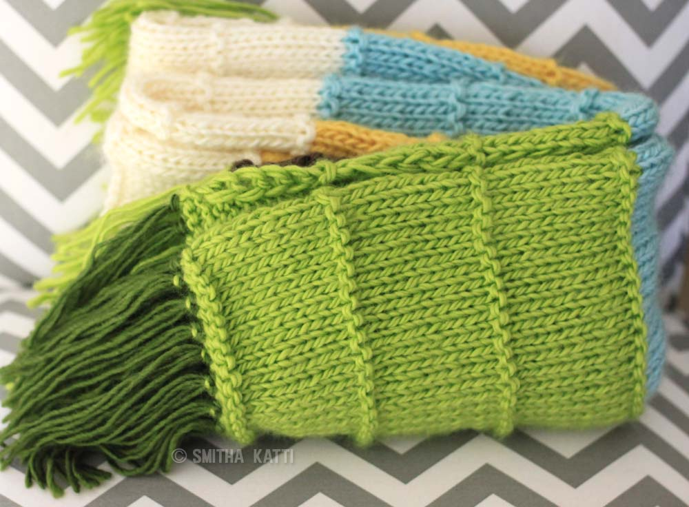 Easy knit blanket that is colorful and simple to make