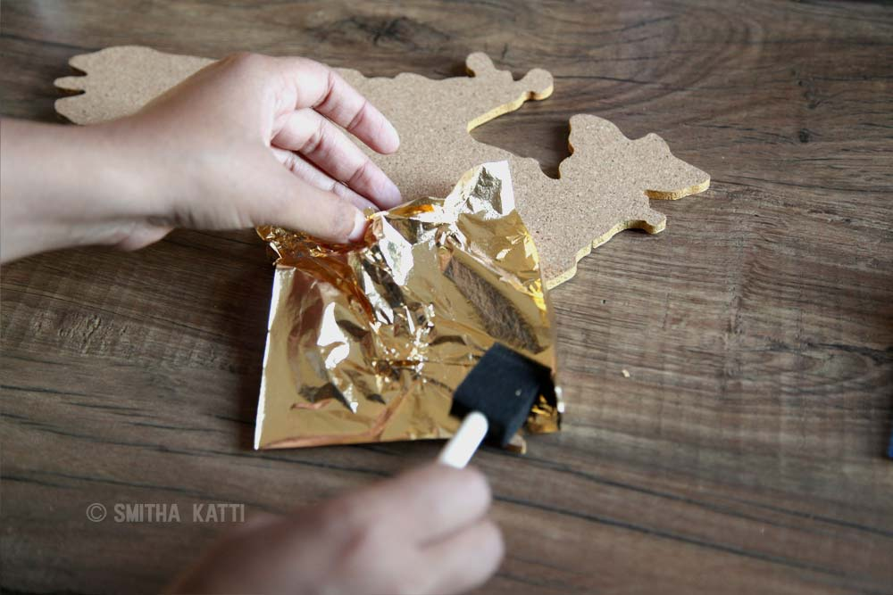 Diy world map wall art that is easy to make and unique smitha katti diy world map wall art gold leafing gumiabroncs Image collections
