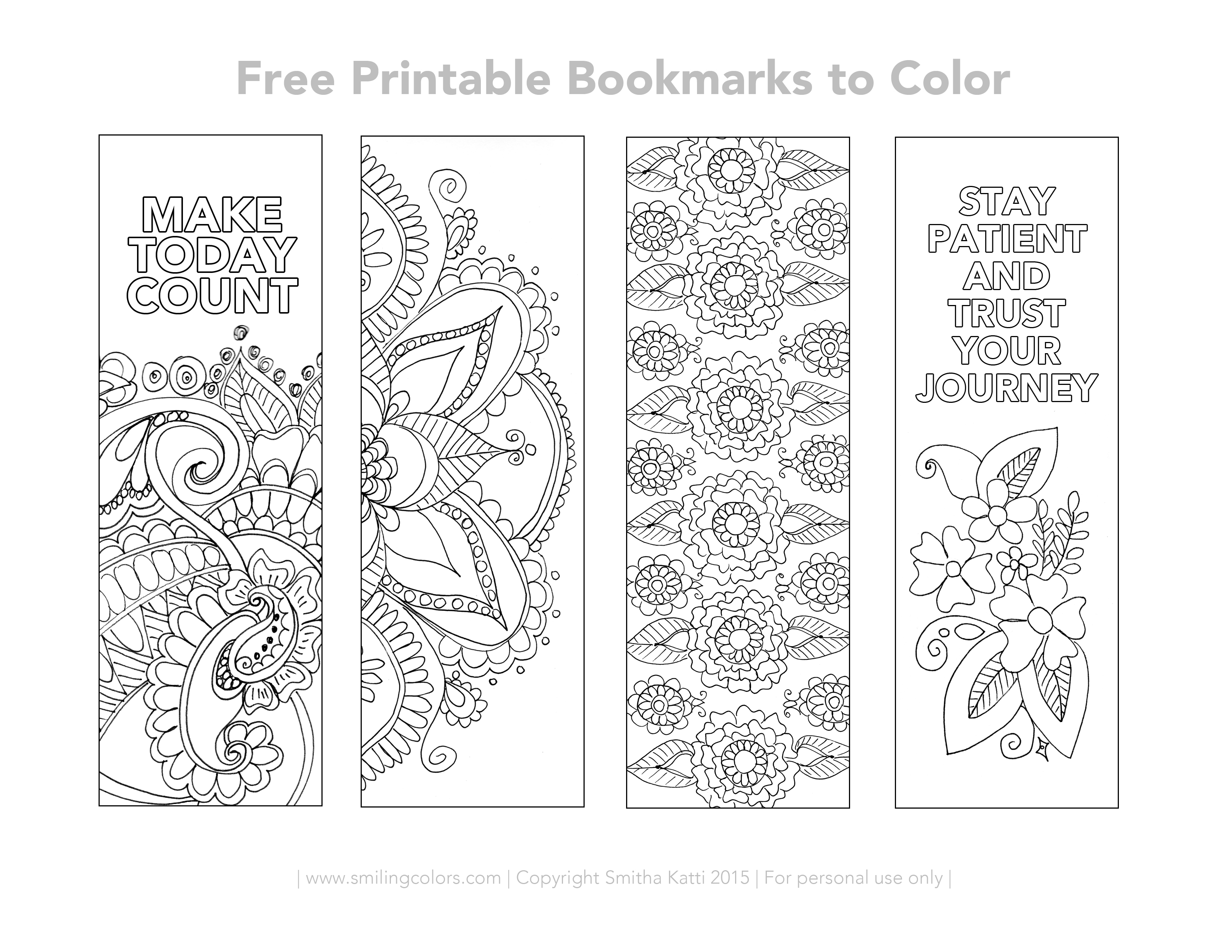 Free Printable Bookmarks to color with intricate designs