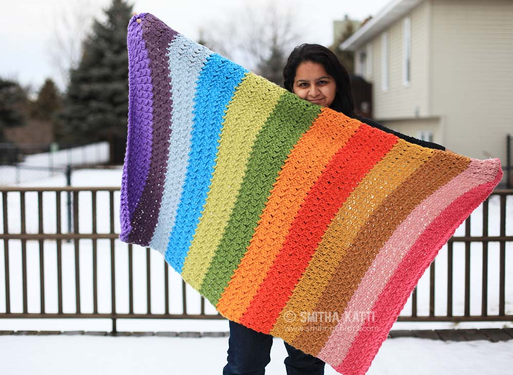 Rainbow Knit Blanket Pattern With An Youtube Video Too