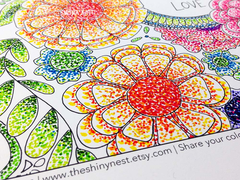 Coloring with markers technique using Pointillism VIDEO