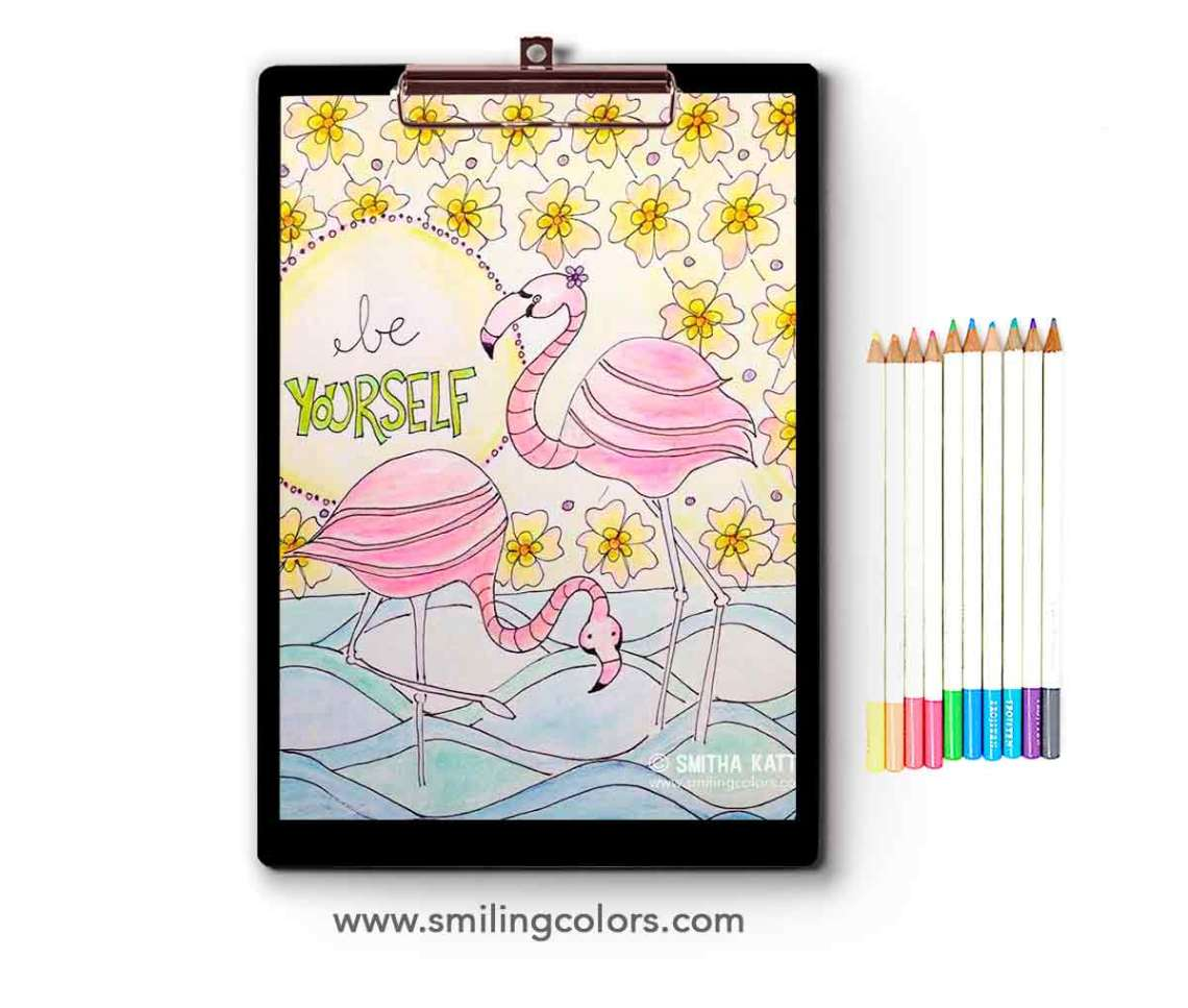 Flamingo Coloring Page Free Printable Coloring Video Tutorial
