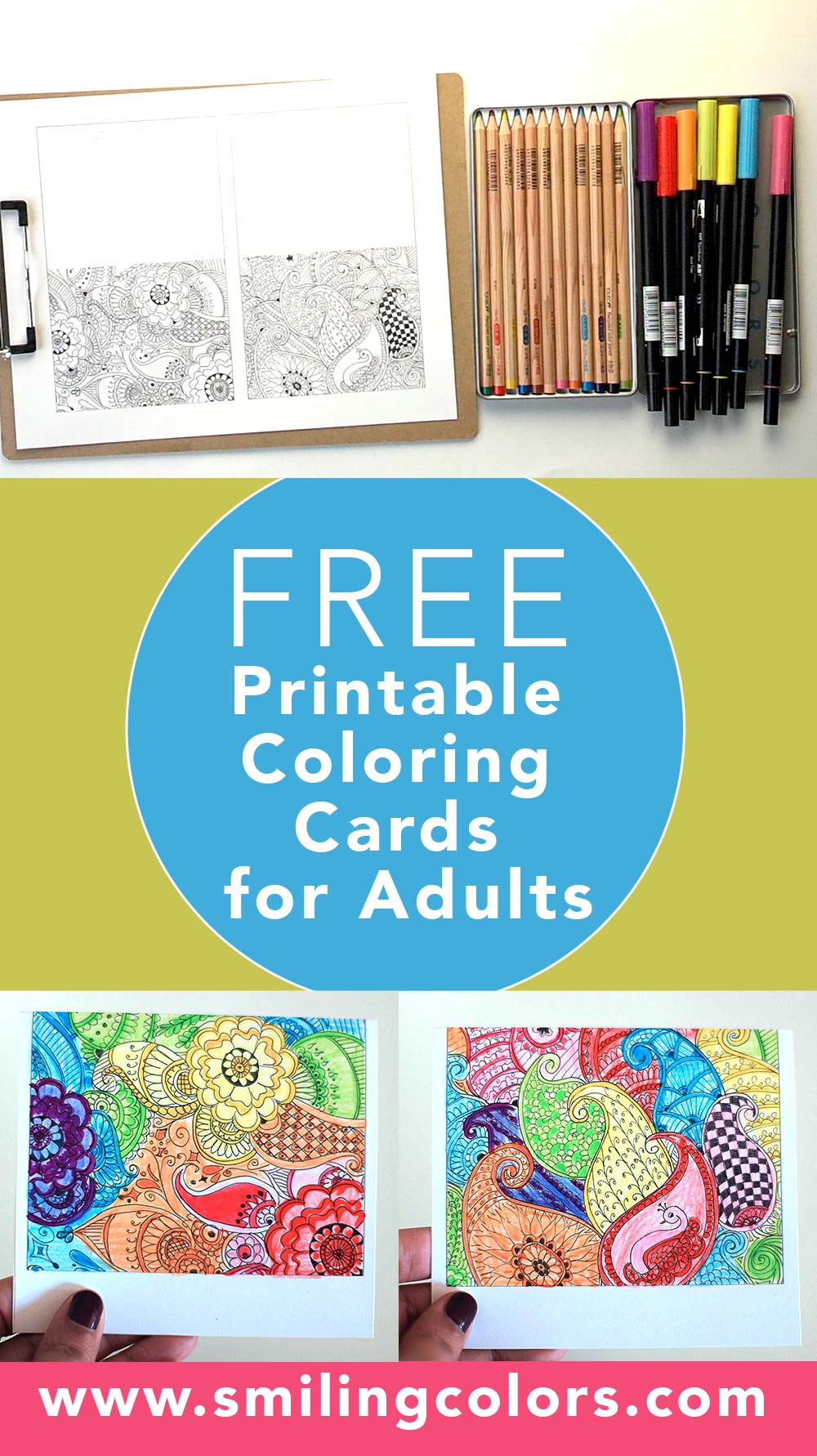 picture relating to Printable Coloring Cards referred to as Video clip: Free of charge Printable Coloring Playing cards for Grown ups - Smitha Katti