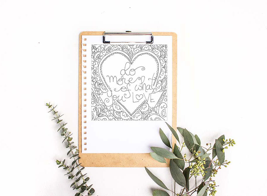 Heart Coloring Sheet Printable With Beautiful Quote