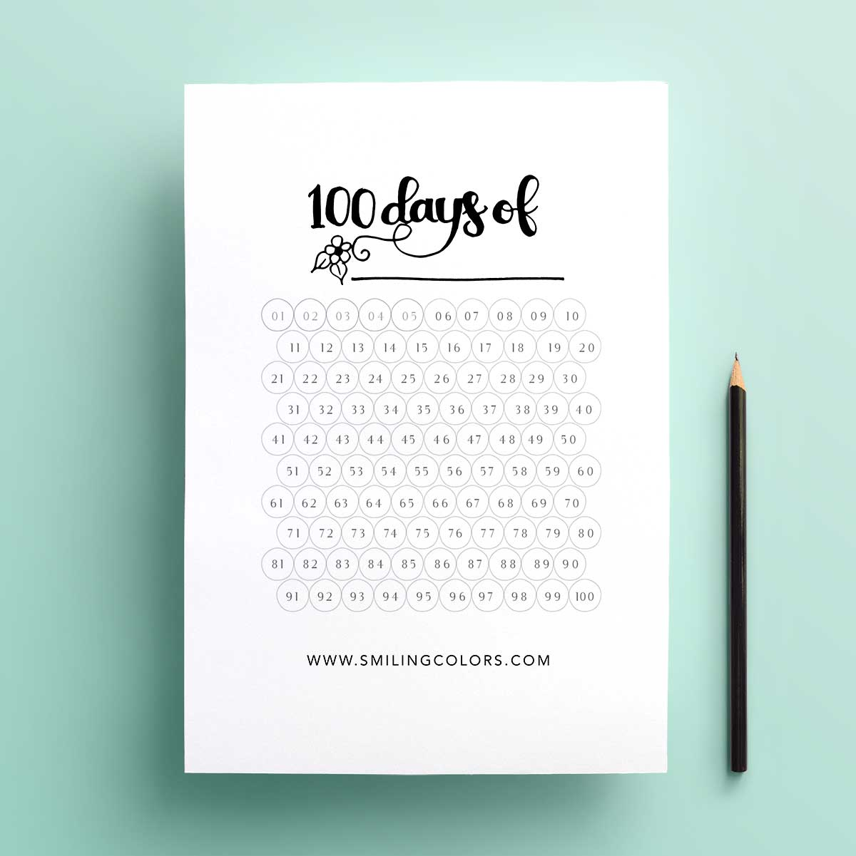 free 100 day goal tracking printable just download and color