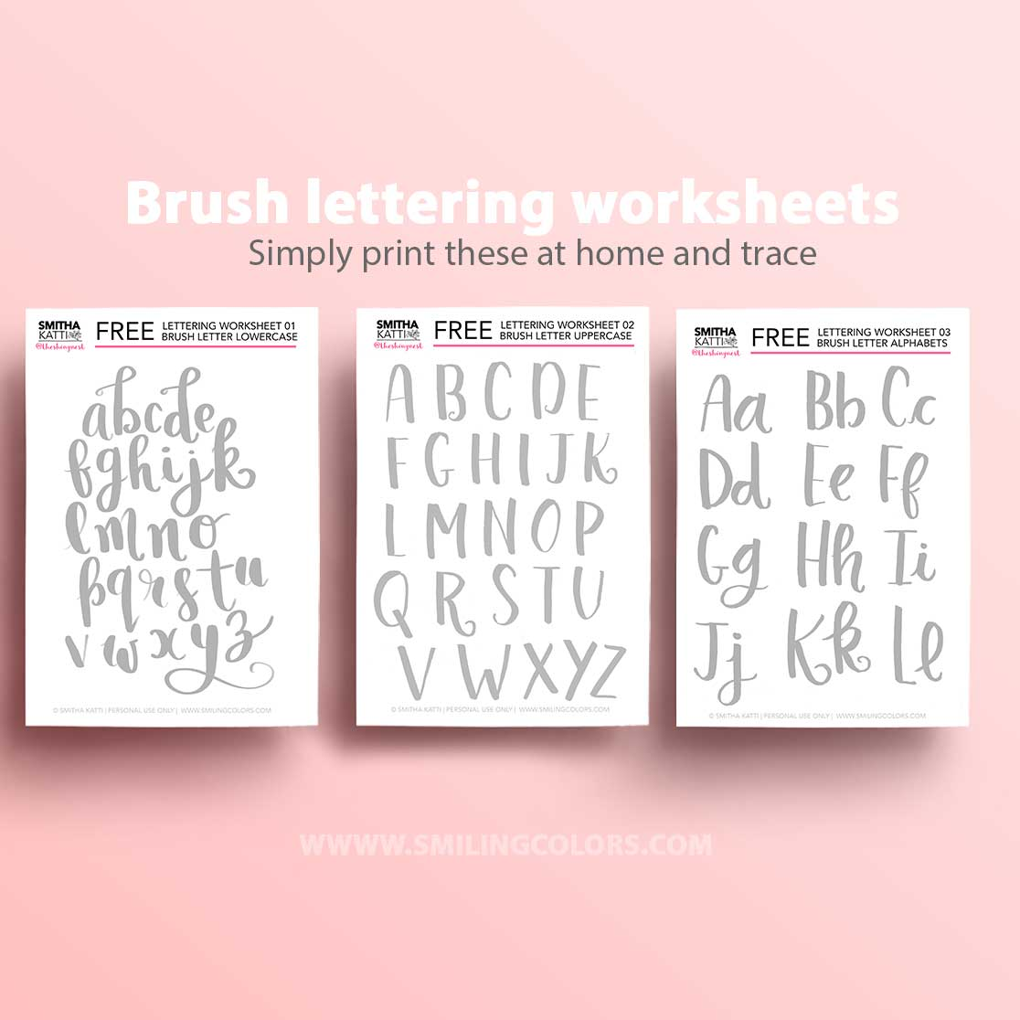 Lettering Worksheets 9 Free Printable Practice Sheets To Trace Smiling Colors
