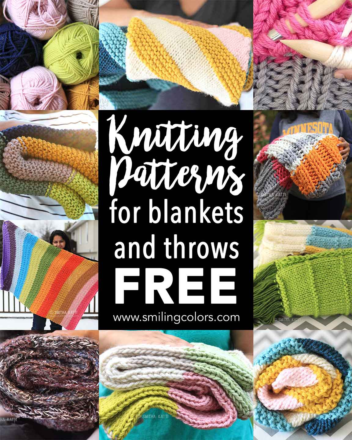 Knitting patterns for blankets and throws FREE - Smitha Katti