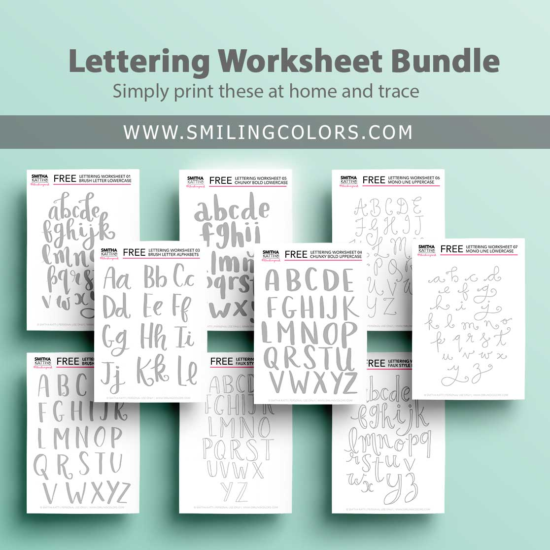 photo about Printable Lettering Free named Lettering worksheets: 9 Totally free printable coach sheets in the direction of hint