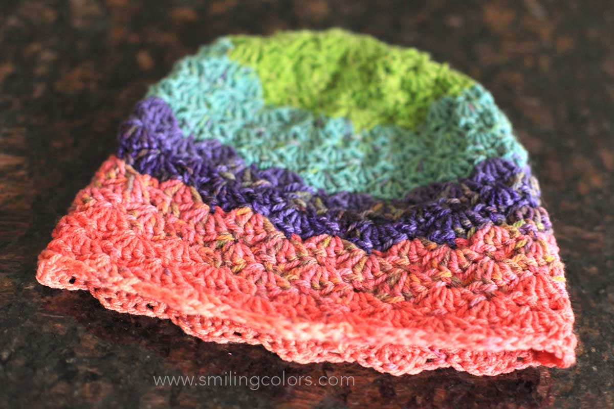 becc8fb5a Shell stitch crocheted hat using Caron Cupcakes