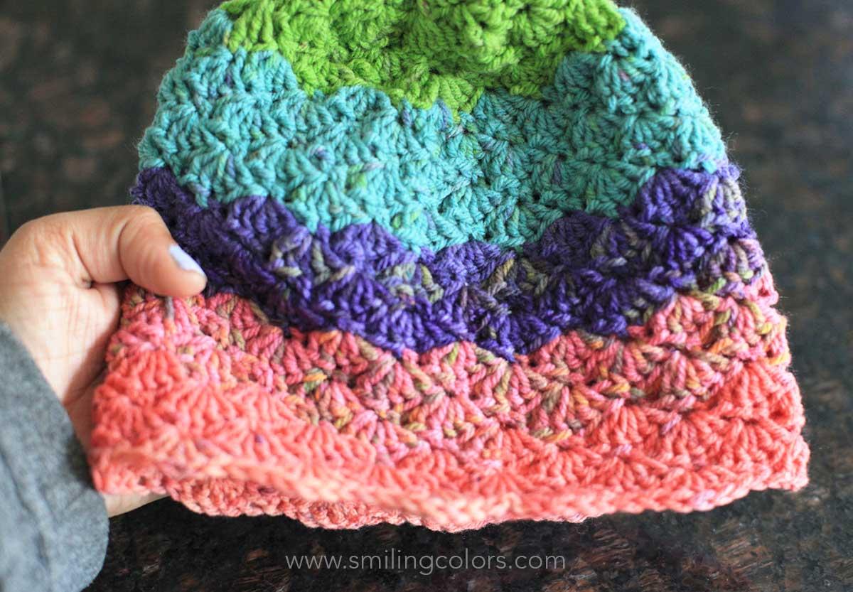 9ffc880f6 Shell stitch crocheted hat using Caron Cupcakes
