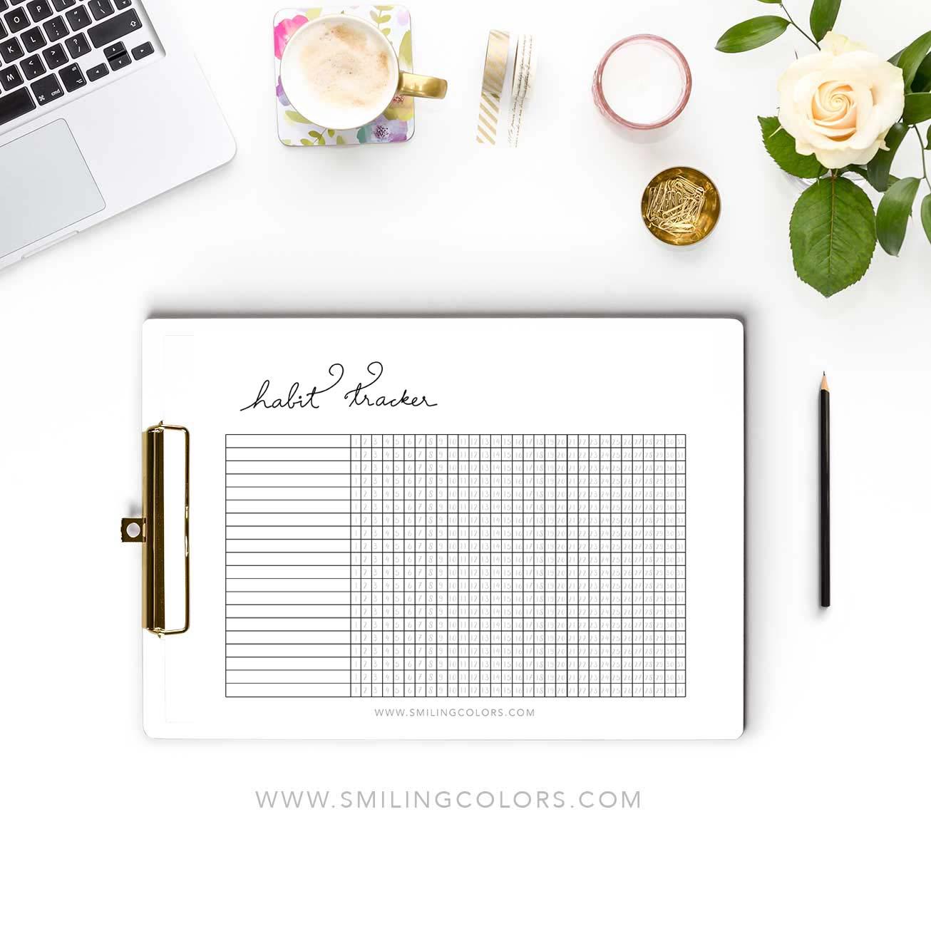 Monthly Habit Tracker Printable