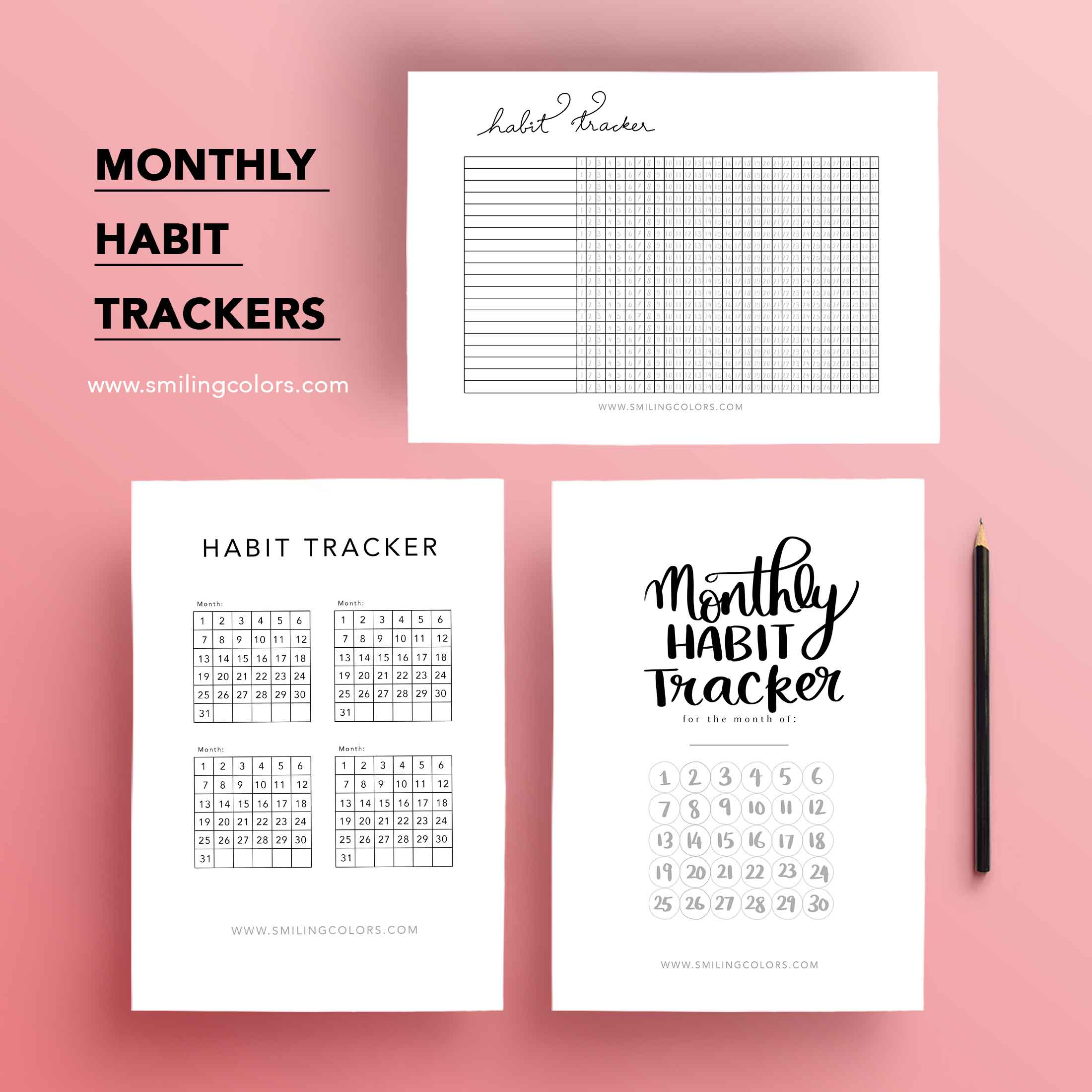 graphic about Monthly Habit Tracker Printable identified as Month-to-month practice tracker printable - Smitha Katti