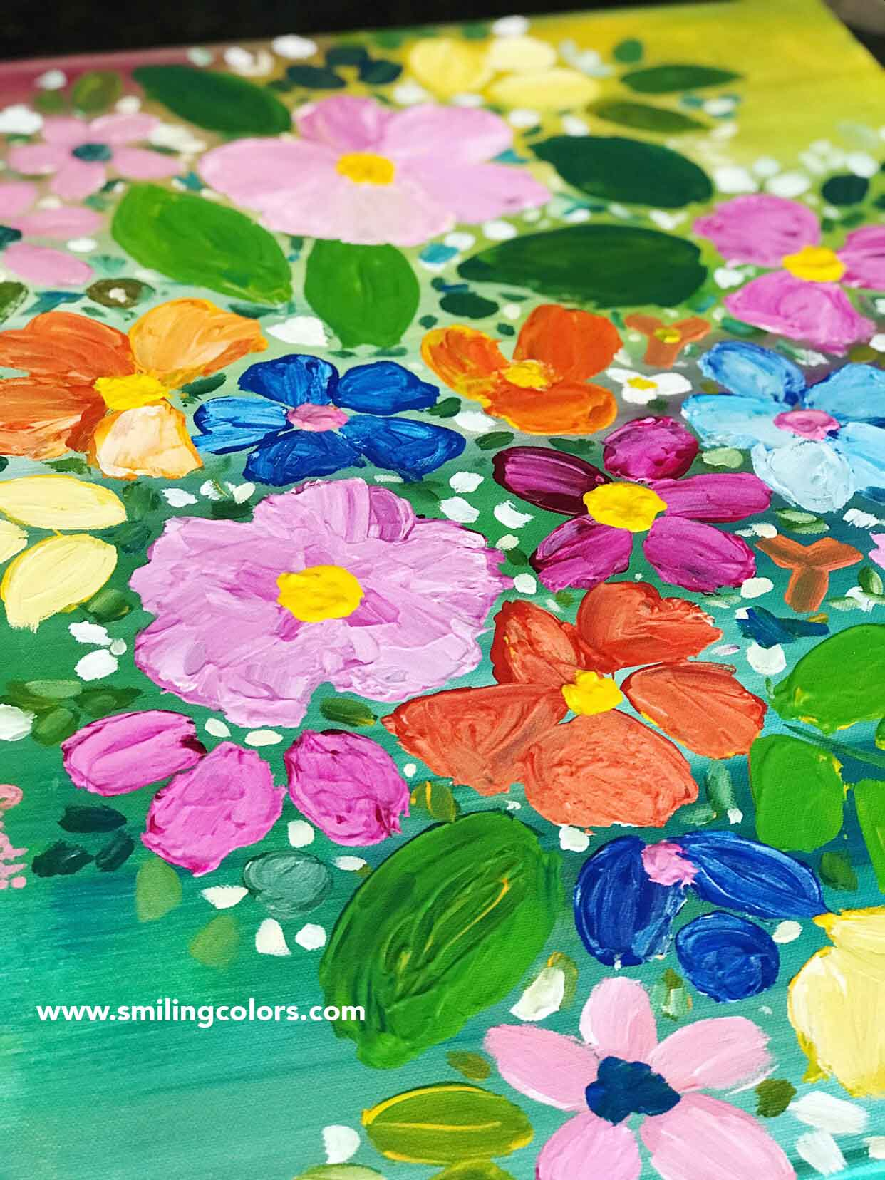 Step By Step Acrylic Painting Tutorial For Easy Flowers