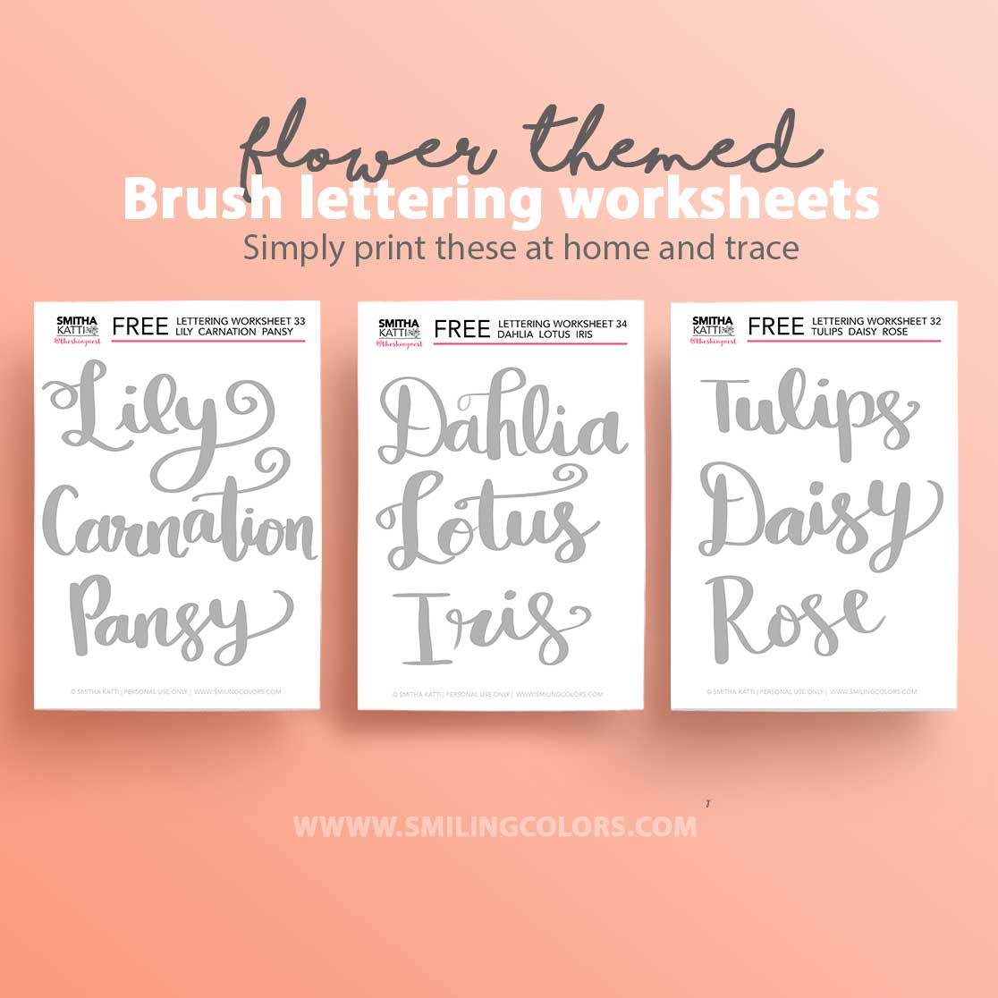 photo about Brush Lettering Practice Sheets Printable named Flower themed brush lettering train sheets printable free of charge