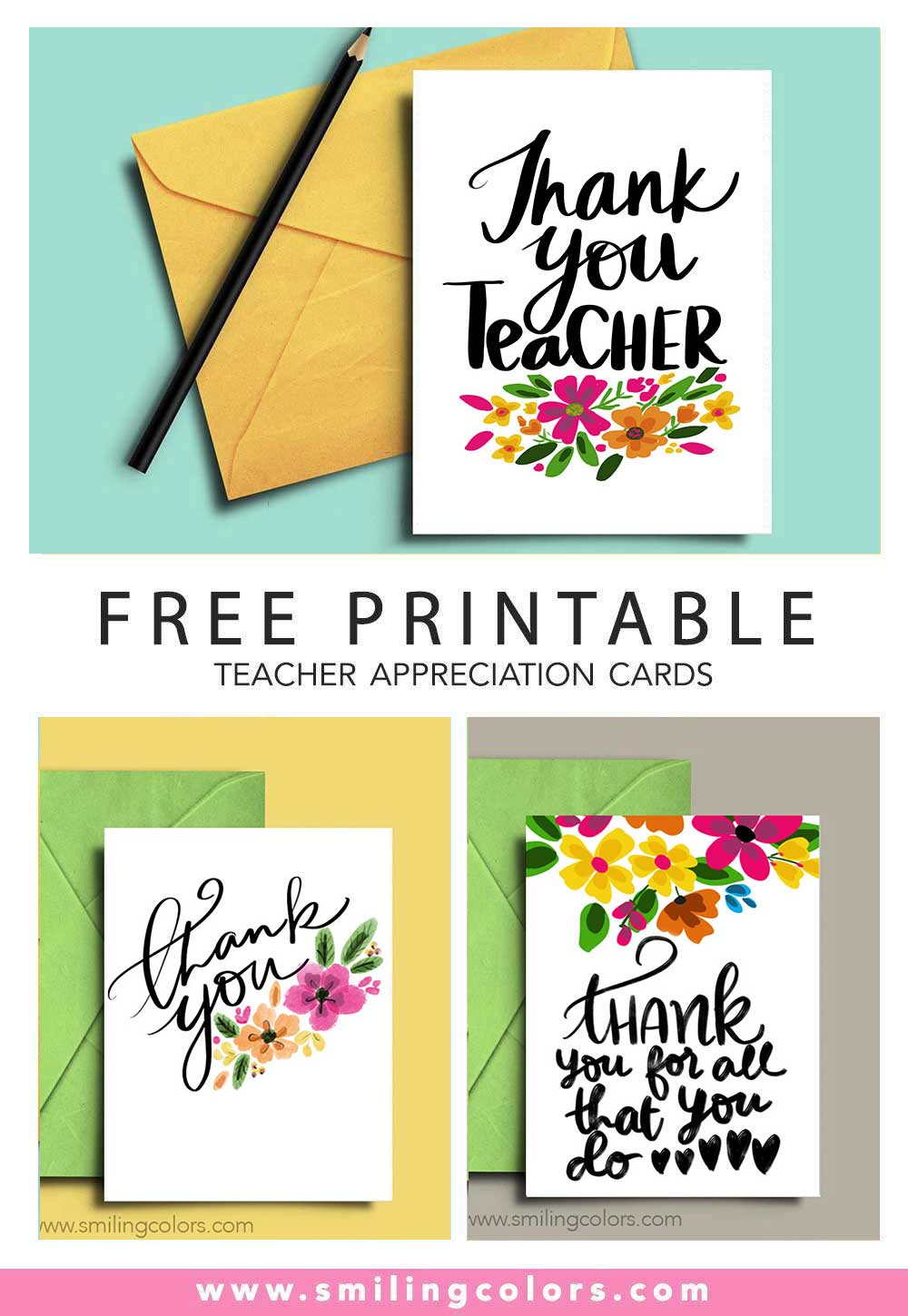 image about Printable Teacher Appreciation Card called Thank on your own trainer: A fastened of No cost printable notice playing cards