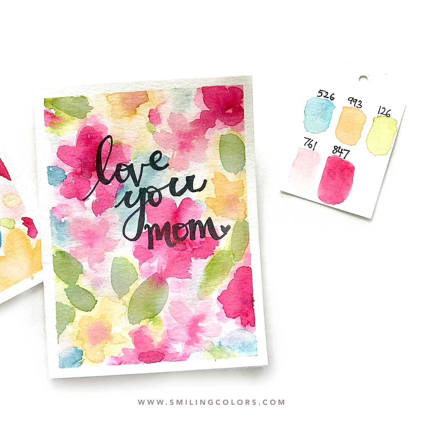 Easy watercolor card idea that you can make quickly for Mother's day