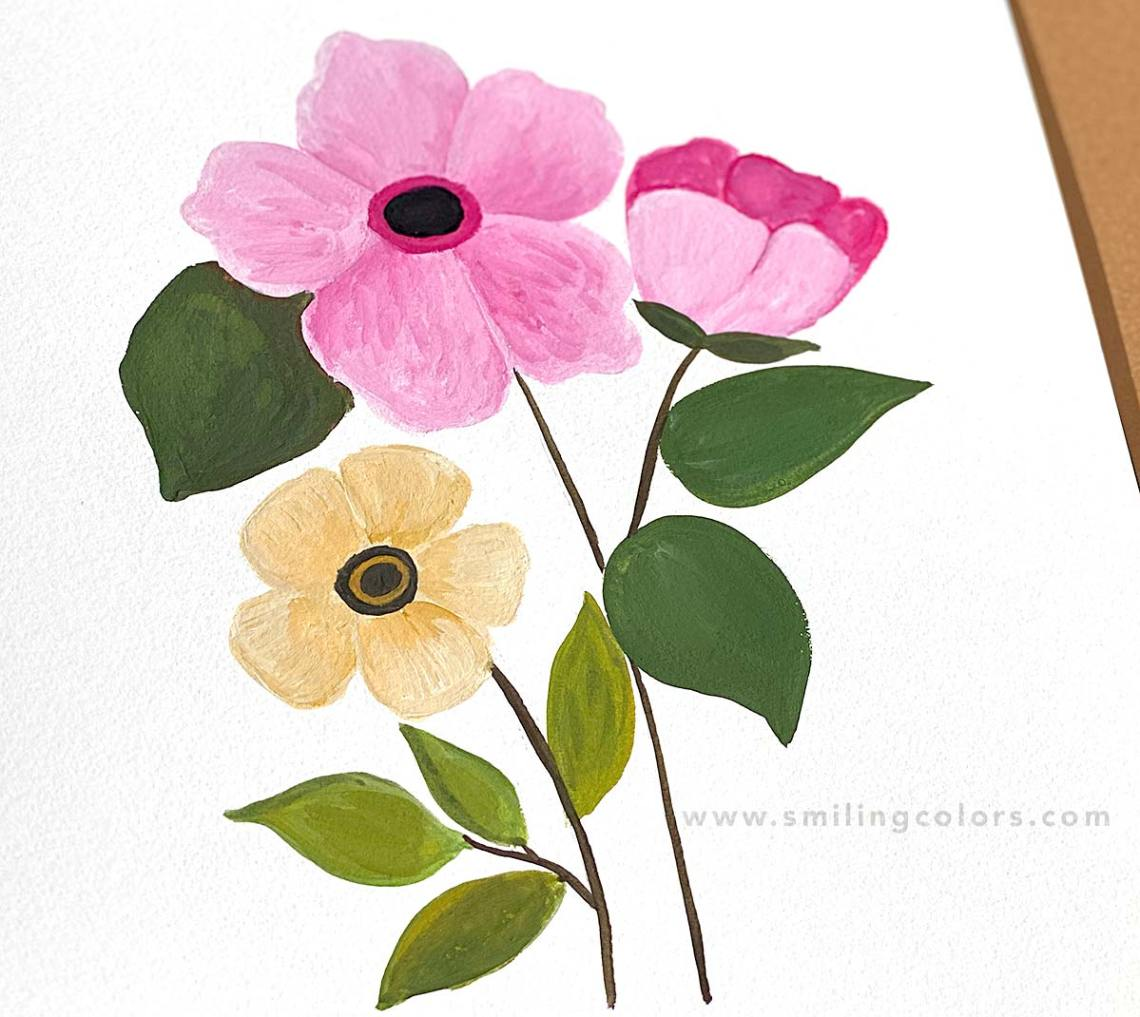 Easy Floral Painting Video Tutorial With Free Printable Template