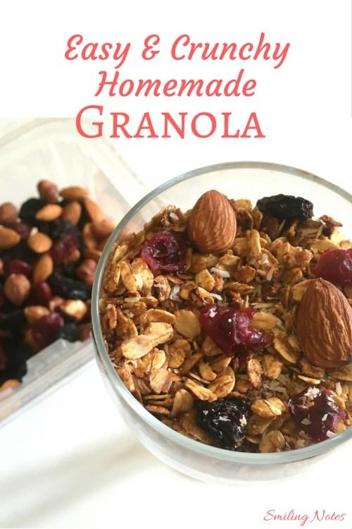 Easy and Crunchy Homemade granola