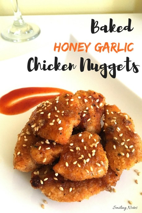 baked honey garlic chicken nuggets