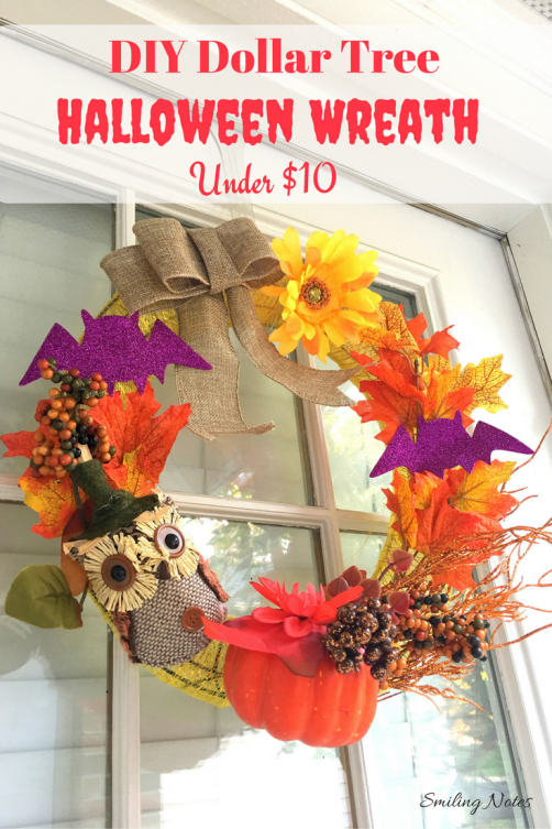 DIY Dollar Tree Halloween Wreath under