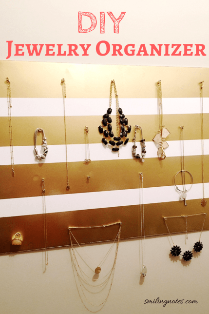 This DIY Hanging Jewelry Organizer for Wall made with foam board will help you stay more organized and you won't end up with tangled jewelry ever again!