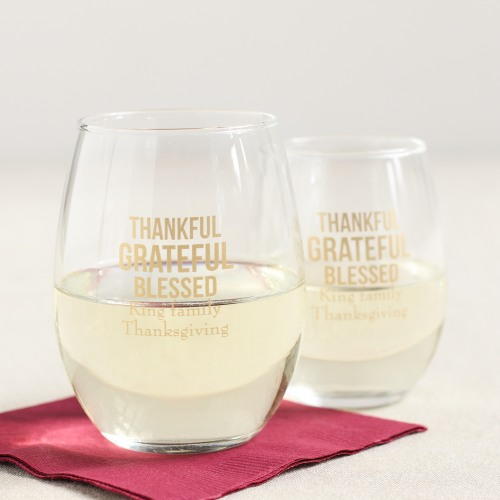 personalized thanksgiving wine glasses