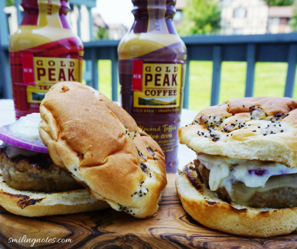 Grilled Turkey Burgers and Gold peak tea latte and coffee #ad