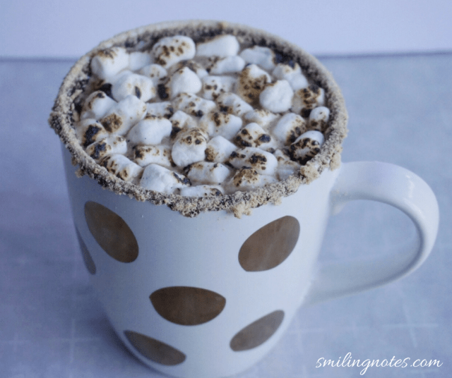 S'mores hot chocolate topped with marshmallows