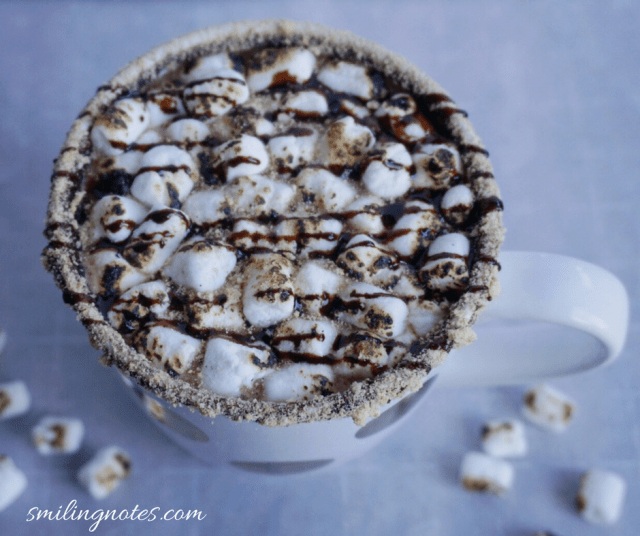 S'mores hot chocolate with chocolate syrup