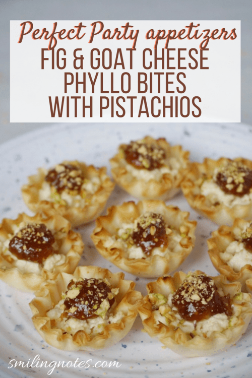 Fig and Goat Cheese Mini Phyllo bites with Pistachios - Love hosting family & friends during the Holiday season? These easy and delicious Fig & Goat Cheese bite-sized appetizers will be a sure shot hit during your Holiday parties. Just 4 ingredients and you have a crowd-pleasing appetizer that will be gone in no time! @joanofarcbrie #JoanofArcGoat #ad