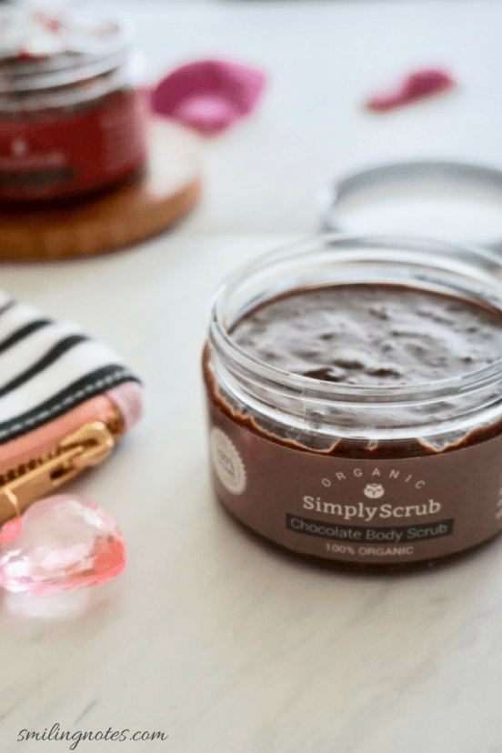 simply scrub organic chocolate body scrub