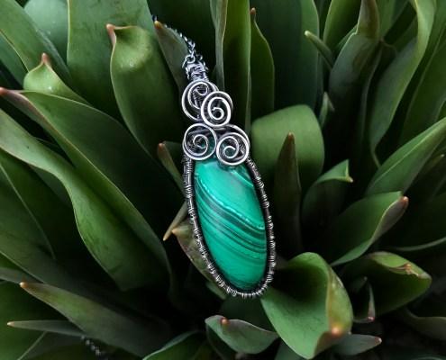 Malakit krystal smykker