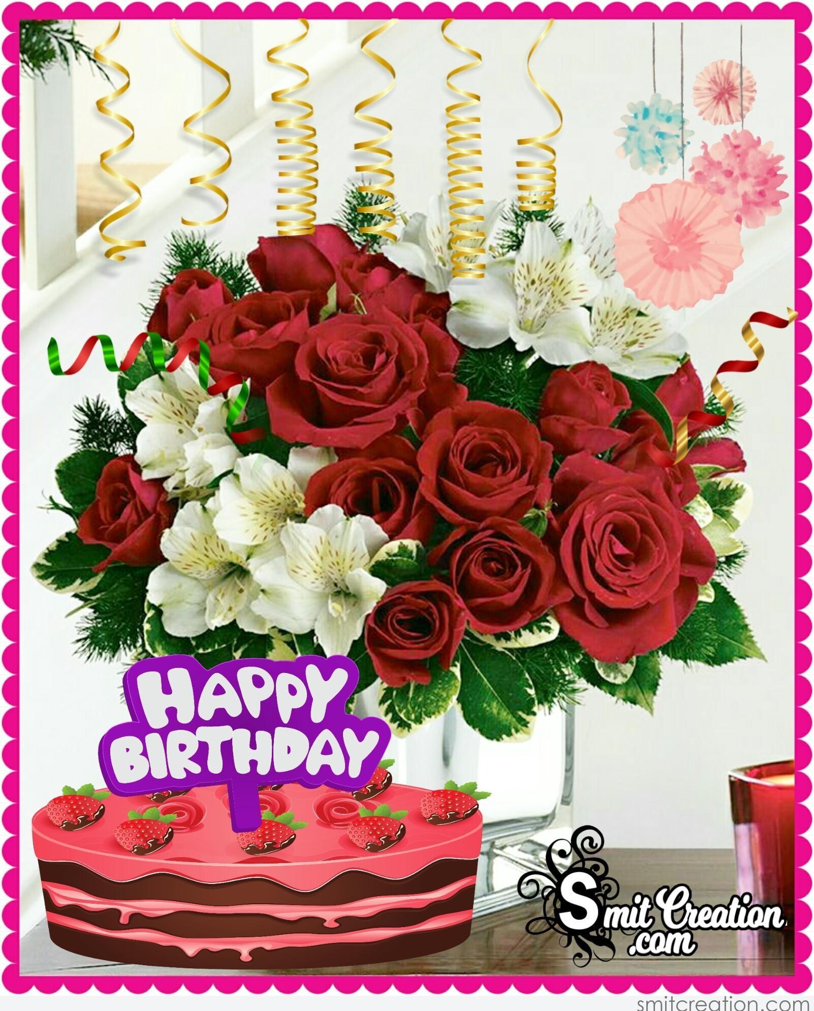 Happy Birthday Flower Bouquet With Cake Smitcreation Com