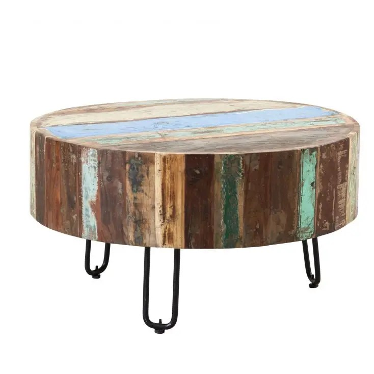 miami round reclaimed wood coffee table