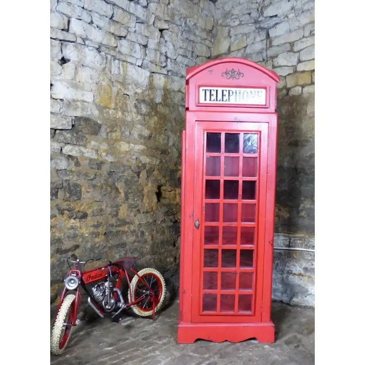 Large Life Size Replica Red Telephone Box Cabinet Storage