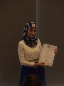 Mariya collects her Parent Champions certificate - image