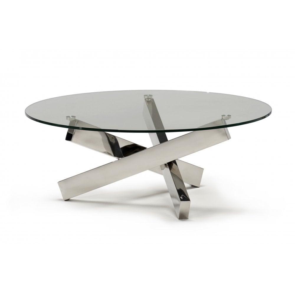 kesterport tivoli circular glass coffee table clear glass polished frame