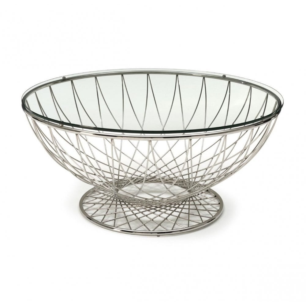 kesterport cleopatra circular glass coffee table clear glass wire frame