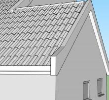 in de hoop om (in de print) het dakvlak wat te profileren, de pannen getekend