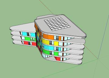 een gebouw van 'de Verbinding', zoals ik het getekend heb. Kleuren om de verdiepingen beter te kunnen onderscheiden