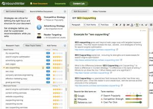 InboundWriter suggests SEO keywords and shows related excerpts