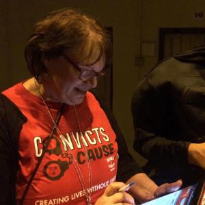 Volunteer Rosie collecting bail