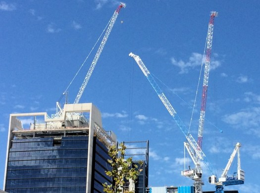 Tower cranes above Perth Australia skyline
