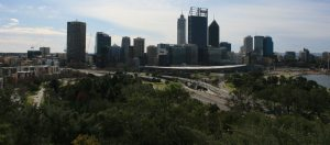 Perth Australia view of Kwinana Freeway from Kings Park