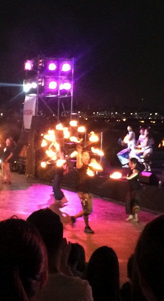 Fire dancers at the Floating Islands in Seoul, South Korea