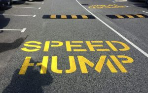 Speed hump in Fremantle E Shed parking lot